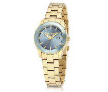 Just In Time Gold Tone Stainless Steel Women's Watches w/Blue Dial