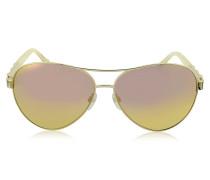 Merga 905S Piloten-Sonnenbrille aus goldfarbenem Metall mit Kristallen
