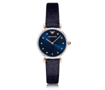 T-Bar Damen-Quartz-Uhr aus Edelstahl mit Lederarmband in midnight-blau