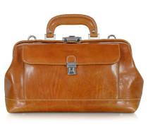 Kleine Doktortasche aus cognacfarbenem Leder
