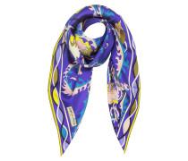 Ranuncoli Halstuch aus bedruckter Seide in blau und gelb