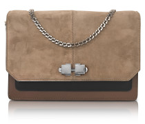 Color Block Suede and Leather Flap Shoulder Bag