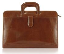 Portfolio Aktentasche aus echtem italienischem Leder - handverarbeitet in braun