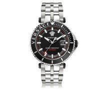 V-Race Diver Stainless Steel Men's Watch w/Black Dial