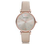 T-Bar Damen-Quartz-Armbanduhr aus goldfarbenem PVD Edelstahl mit Lederarmband