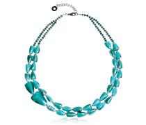 Marina 1 Double - Halskette aus Muranoglas in türkisgrün und Silber