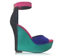 Zia Multicolor Suede Wedge Sandal
