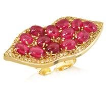 Big Mouth Ring in Gold mit Diamanten und Rubin
