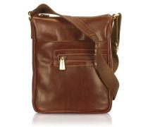 Handgearbeitete Cross-Body-Tasche aus braunem Leder