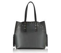 Black Leather Aurora Medium Tote Bag