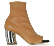 Light Brown Stretch Leather Open Toe Boots w/Mirror Heel