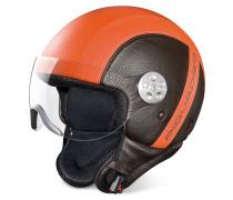 Open Face - Zweifarbiger Motorradhelm aus Leder mit Visier
