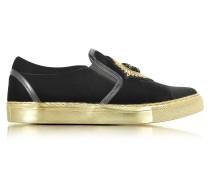 Queen Slip-on Sneaker aus schwarzem Samt