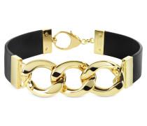 Halskette aus vergoldetem Brass und Leder