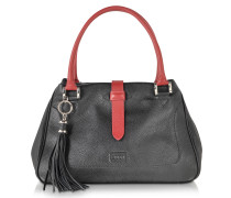 Black and Red Leather Satchel Bag