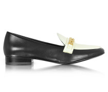 Gemini Link Black Leather and Bleach Patent Leather Loafer Shoe