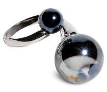 Optical - Ring aus silberfarbenem Edelstahl mit schwarzen Muranoperlen