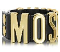 Manschetten-Armband aus Leder mit Logo