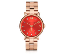 Baker Armbanduhr aus Edelstahl in rosé goldfarben mit Ziffernblatt in rot