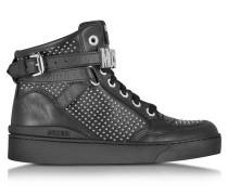 Sneaker aus schwarzem Leder mit Nieten