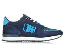 Botticelli Blue Suede and Fabric Men's Sneaker w/Sky Blue Laces