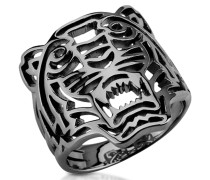 Ruthenium Ring aus Sterlingsilber mit Cut Out Tiger in klein