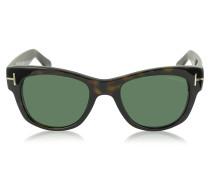 CARY FT0058 52N Sonnenbrille aus Acetat in havana