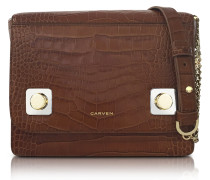 Brown Croco Embossed Leather Shoulder Bag