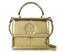 Golden Laminated Ayers Top Handle Satchel