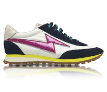 Astor White & Multicolor Nylon Sneaker w/Lightning Bolt Logo