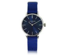 1960 Damenuhr aus Edelstahl in silber mit Armband aus Canvas in blau