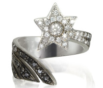 Sternschnuppen Ring aus 18k Weißgold mit Diamanten in weiß grau und schwarz