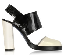 Slingback Sandale aus Leder in schwarz und cremefarben