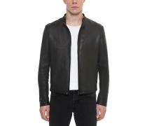 Black Leather Men's Biker Jacket