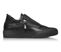 Giove Black Perforated Nappa Leather Low Top Men's Sneakers