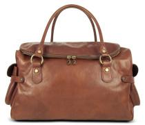 Handtasche aus italienischem Leder mit Prägung in braun