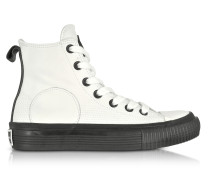 Plimsoll High Top Sneaker aus Leder in weiß