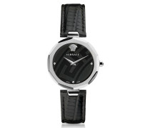 Idyia Decagonal Black and Silver Women's Watch w/Greek Engraving