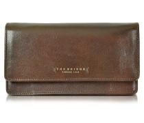 Passpartout Donna große Brieftasche für Damen aus Leder in dunkelbraun