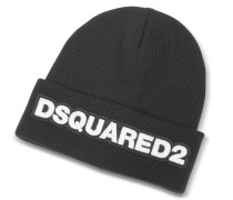 Signature Patch Black Wool Knit Hat