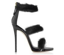 High Heel Sandalen mit Pelz aus Lack-und krokogeprägtem Leder in schwarz