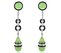 Jade - Ohrringe mit Trofenanhänger und Swarovskisteinen