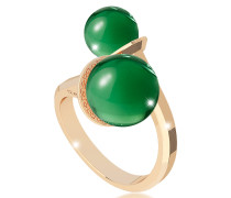 Boulevard Stone Yellow Gold Over Bronze Contrarié Ring w/Hydrothermal Green Stones