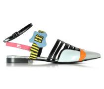Multicolor Stripes Leather Alchimia Flat Sandal