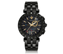 V-Race GMT Alarm Black Plated Men's Watch
