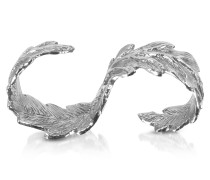 Two Fingers Silver Leafy Ring