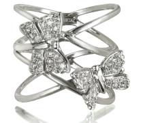 Criss Cross Ring aus 18k Weißold mit zwei Schmetterlingen und Diamanten besetzt