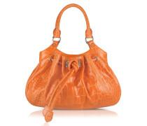 Umhängetasche aus krokogeprägtem Leder in orange