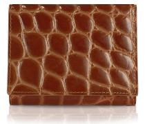 Spiga - Damen Brieftasche aus krokogeprägtem Kalbsleder in braun