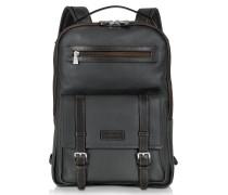 Rucksack aus Leder in schwarz und braun